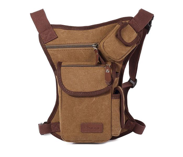 BAG395-2 Набедренная сумка из ткани коричневого цвета