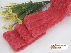 Ткань Розы на сетке коралловая
