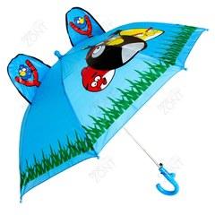 Детский зонтик голубой с Angry birds и ушками со свистком