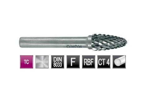 Бор-фреза твердосплавная F(RBF) 10,0х20x6x60мм HM Ruko 116032