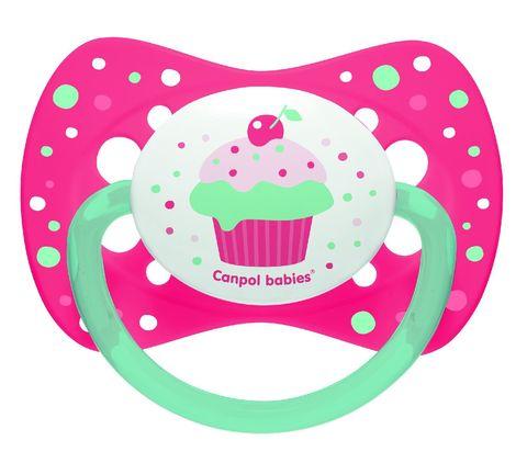 Canpol. Пустышка Cupcake симметричная силикон 0-6 мес., розовый