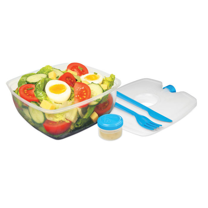 """Контейнер для салата с охлаждающим элементом Sistema """"TO GO"""" 1,63 л, цвет Голубой"""