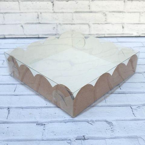 Коробка для пряников Ажурная с фиксацией дна двусторонняя 12х12х3 см