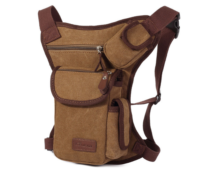 BAG395-2 Набедренная сумка из ткани коричневого цвета фото 02