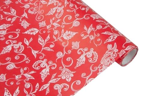 Бумага белая крафт 40гр/м2, 70см x 10м, Сказочная гжель, красный