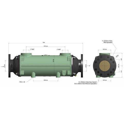 Теплообменник разборный 556 кВт, трубки купроникель BOWMAN