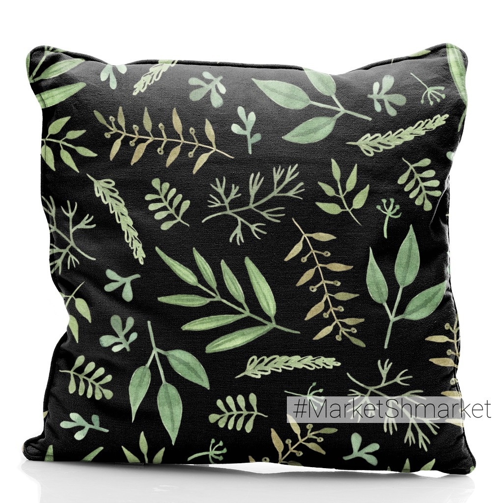 Green branches and leaves on a black. Зеленые ветви и листья на черном