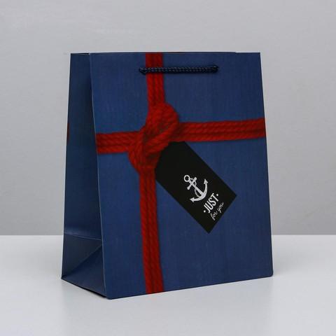 Купить подарочный пакет в морском стиле - Магазин тельняшек.ру 8-800-700-93-18Пакет ламинированный «Just for you», 23х27х11,5см в Магазине тельняшек