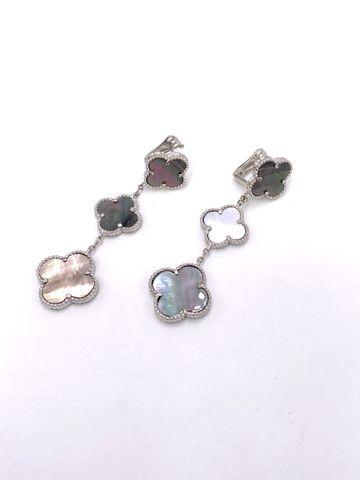 44317- Серьги Trendy из серебра с тремя мотивами, темно-серый перламутр