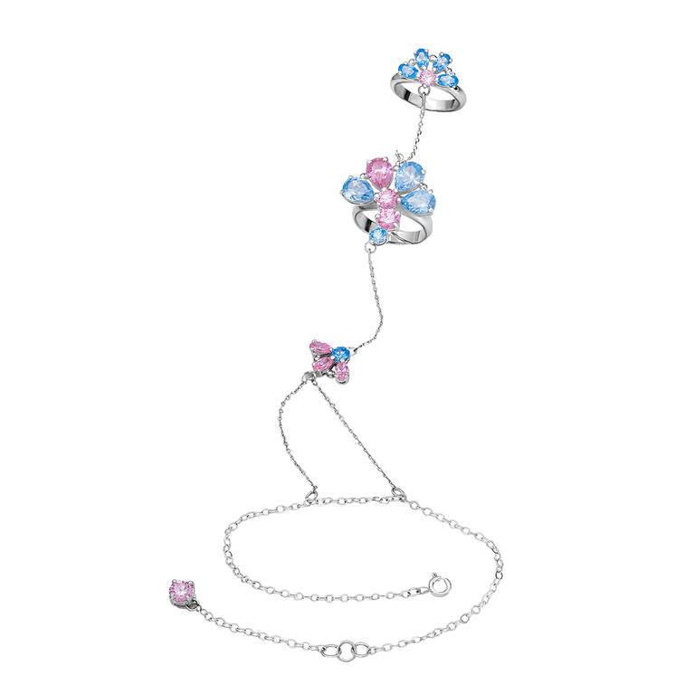 Topazes flowers bracelet in white gold with topazes and rose quartz