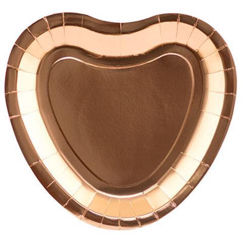 Тарелки Сердце розовое золото, 6 штук