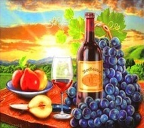 Алмазная Мозаика 30x40 Вино и фрукты (арт. ZX9545 )