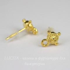 Пуссеты - гвоздики 10х8 мм (цвет - золото) (с заглушками)