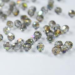 5000 Бусина - шарик с огранкой Сваровски Crystal Iridescent Green 4 мм, 5 штук