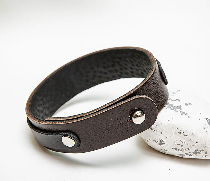 BL792-1 Мужской браслет из коричневой и черной кожи фото 04
