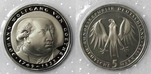 5 марок. 150 лет со дня смерти Иоганна Вольфганга фон Гёте (D) Германия. Медноникель. 1982 г. PROOF