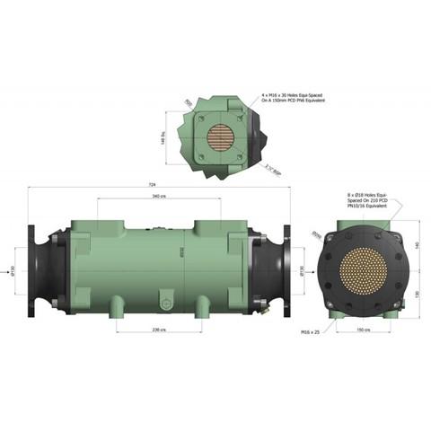 Теплообменник разборный 780 кВт, трубки купроникель BOWMAN