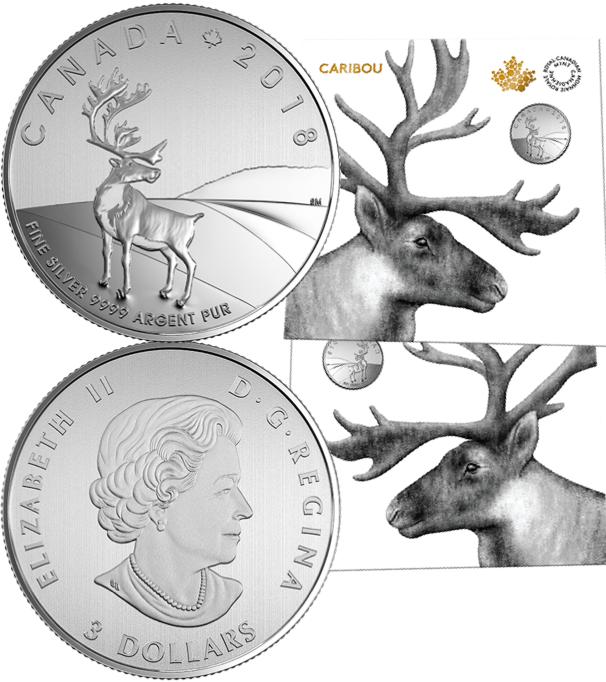 3 доллара 2018 год. Северный олень. Серебро. Канада