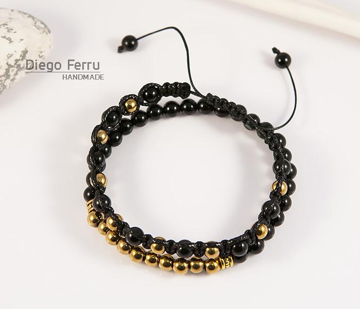 BS698 Комплект мужских браслетов из натурального камня, «Diego Ferru» фото 02
