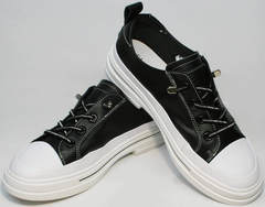 Городские кроссовки туфли женские на низком каблуке El Passo sy9002-2 Sport Black-White.