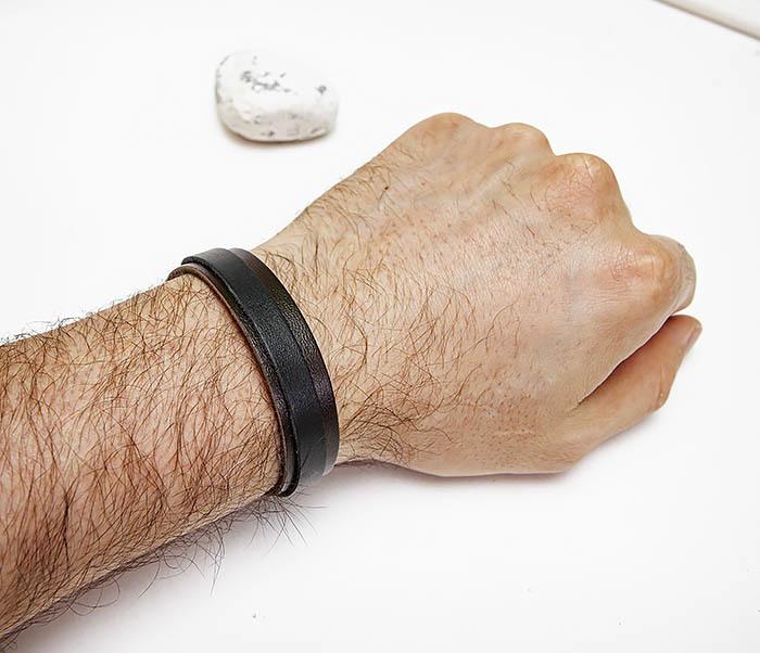 BL792-1 Мужской браслет из коричневой и черной кожи фото 05
