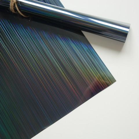 Термотрансферная пленка металлик, спектр голографический, черный 25х25 см