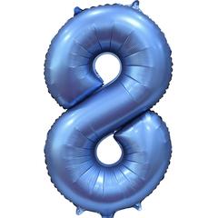 К Цифра, 8, Синий, Сатин, 34''/86 см, в упаковке 1 шт.