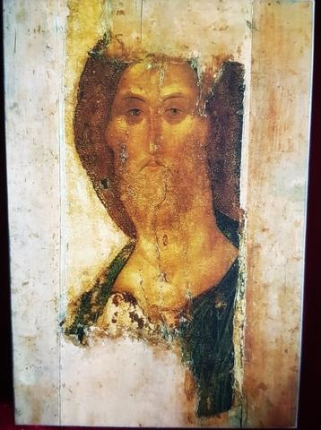 Икона Иисус Христос Спаситель Андрея Рублева на левкасе на дереве