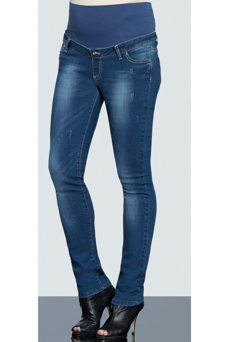 Фото джинсы для беременных EBRU, зауженные, высокая вставка, средняя посадка от магазина СкороМама, синий, размеры.
