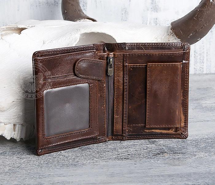 WL275-2 Мужской кошелек из гладкой натуральной кожи фото 04