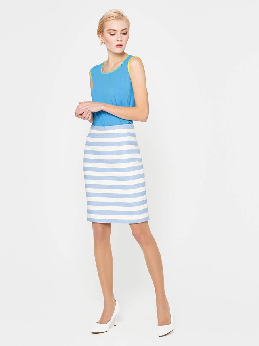 Юбка Б074-577 - Прямая юбка из фактурной ткани.  Горизонтальная, модная в этом сезоне, полоска смотрится стильно и необычно.