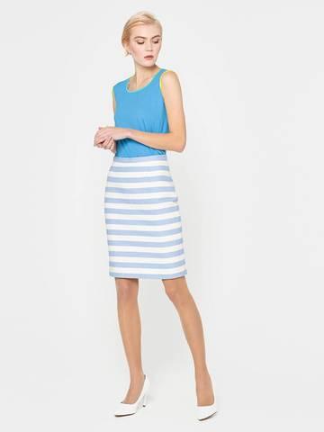 Фото модная юбка прямого силуэта в полоску с разрезом - Юбка Б074-577 (1)