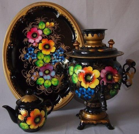 Самовар в наборе с подносом и чайником «Жостово»