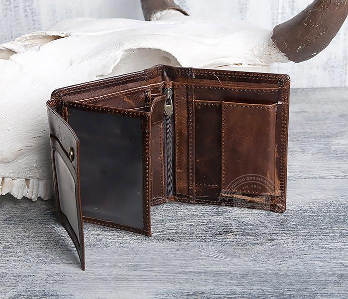 WL275-2 Мужской кошелек из гладкой натуральной кожи фото 05