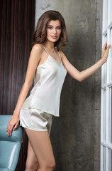 Комплект из шелка топ+шорты Mia-Mia молочный 15142