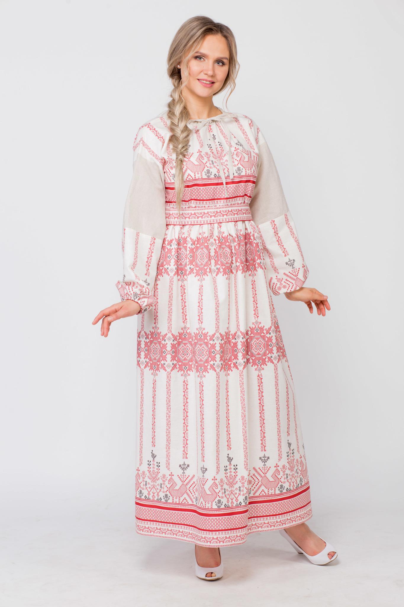 Платье льняное Земледелие с поясом