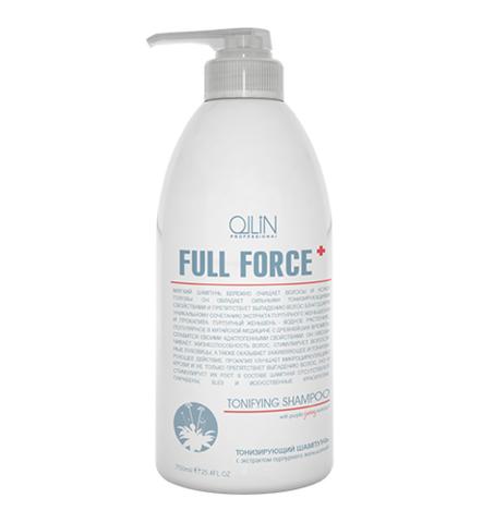 OLLIN full force тонизирующий шампунь с экстрактом пурпурного женьшеня 750мл
