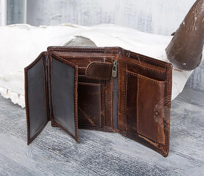 WL275-2 Мужской кошелек из гладкой натуральной кожи фото 06