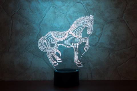 3D лампа Лошадка