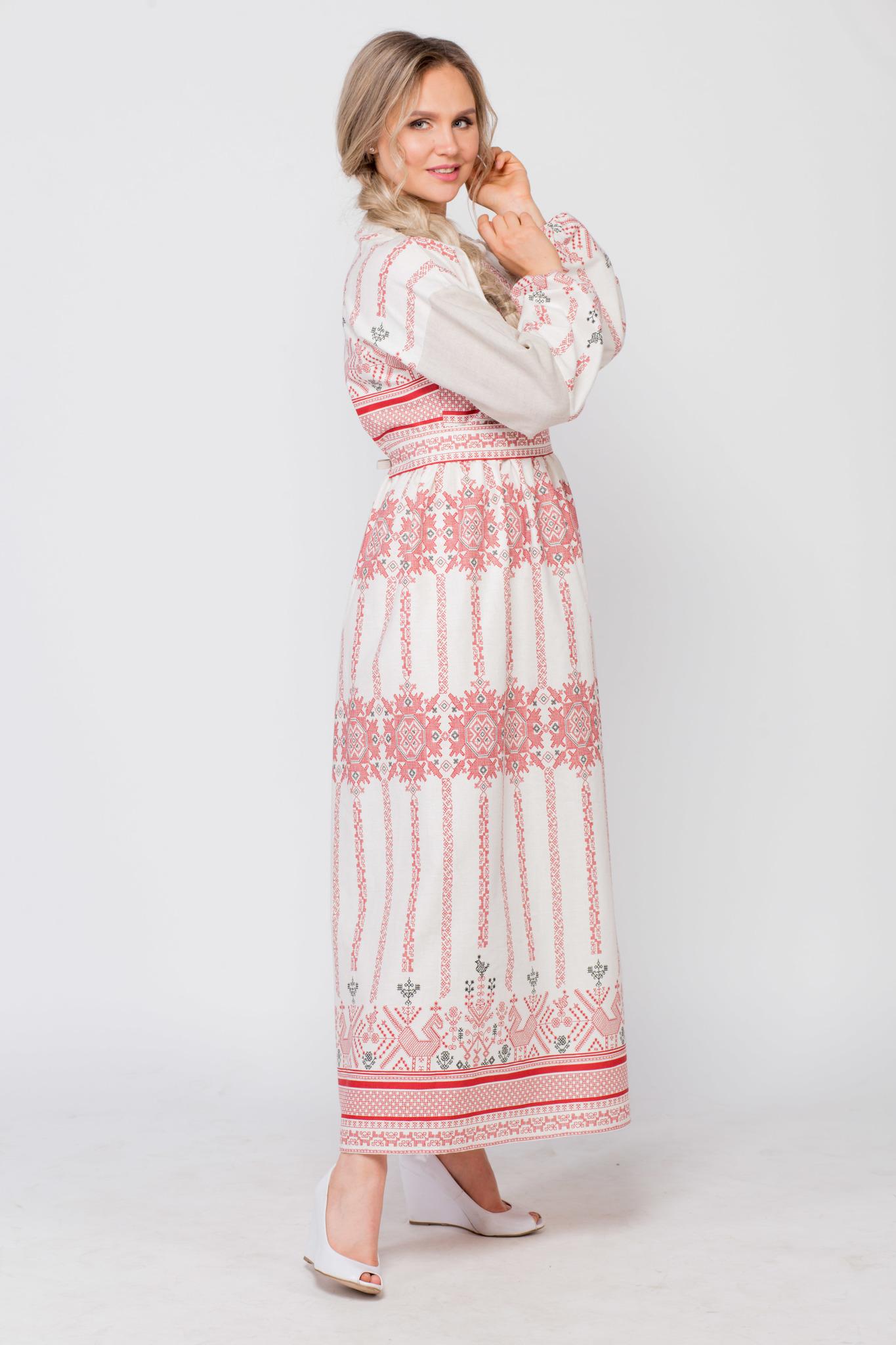 Платье льняное Земледелие вид сбоку