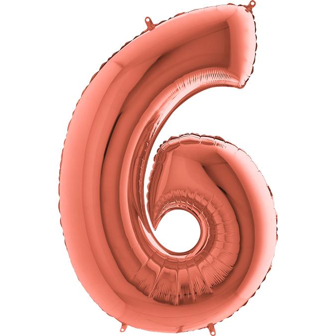 Цифра Розовое золото 6