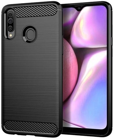 Чехол для Samsung Galaxy A20S цвет Black (черный), серия Carbon от Caseport
