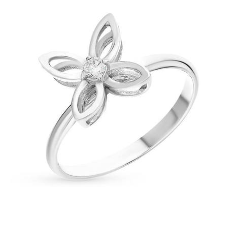 Flower bracelet in white gold with diamond