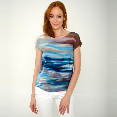 Шелковая блузка батик Море