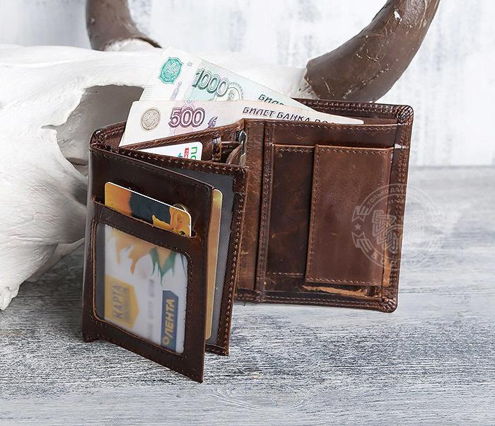 WL275-2 Мужской кошелек из гладкой натуральной кожи фото 07