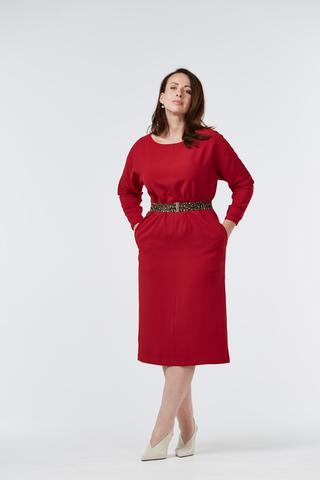 Платье-миди с леопардовым поясом