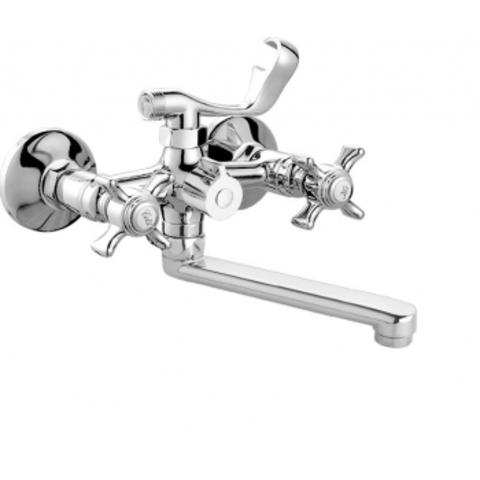 Viko 2122 смеситель для ванны короткий излив крестовые ручки кер (керамический переключатель) излив L-20см (латунь)
