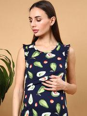 Мамаландия. Сорочка для беременных и кормящих с горизонтальным секретом и рукавом-крылышком, авокадо/темно-синий
