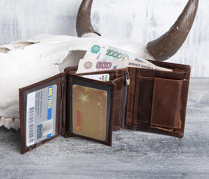 WL275-2 Мужской кошелек из гладкой натуральной кожи фото 08