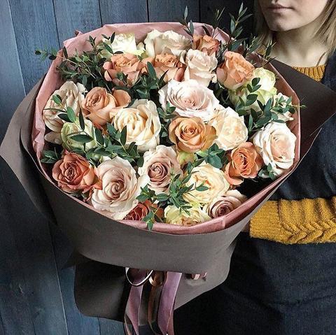 Букет с розами Чай с молоком #156346